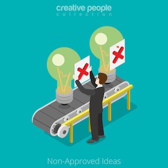 フラットアイソメトリックビジネスマンは、コンベヤーのアイデアを拒否します未承認のスタートアップビジネスアイソメトリーの概念。