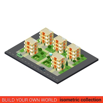 Flat isometric city dormitory area sleeping quarters condominium appartment building block infographic concept build your own infographics world collection