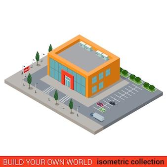 평면 아이소 메트릭 시티 몰 슈퍼마켓 빌딩 블록 infographic 개념 자신의 infographics 세계 컬렉션 구축