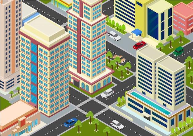 Flat isometric city megalopolis blocks