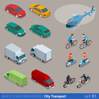 Flat isometric city transport isometric set