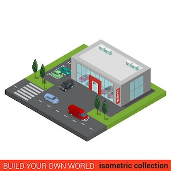 Flat isometric coffee shop cafe restaurant house building block infographic concept build your own infographics world collection