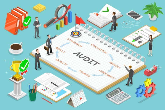 Flat isometric concept audit, tax examination, financial report.