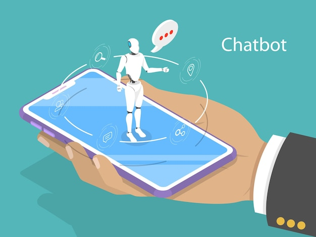 Flat isometric concept of chat bot, ai, artificial intelligence, customer support.