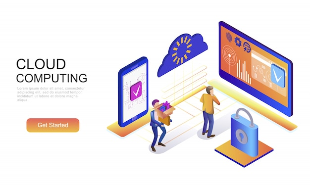 Flat isometric concept of cloud technology