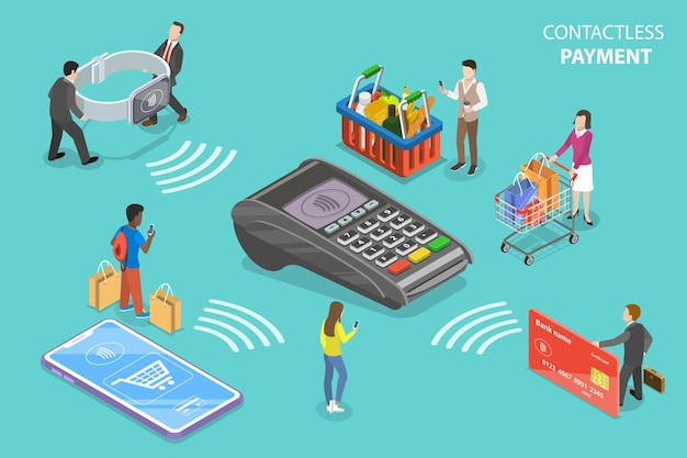 Flat isometric concept of contactless  payment