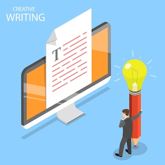 Flat isometric concept of creative writing, copywriting, content creating.