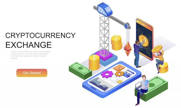 Flat isometric concept of cryptocurrency exchange