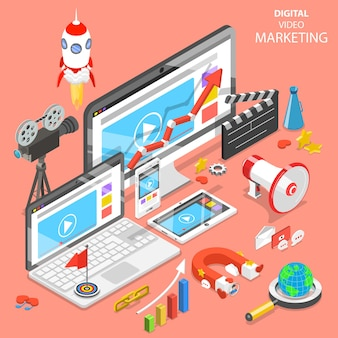 Flat isometric concept of digital video marketing, advertising, social media, seo.