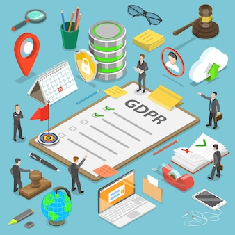 Flat isometric concept of gdpr - general data protection regulation