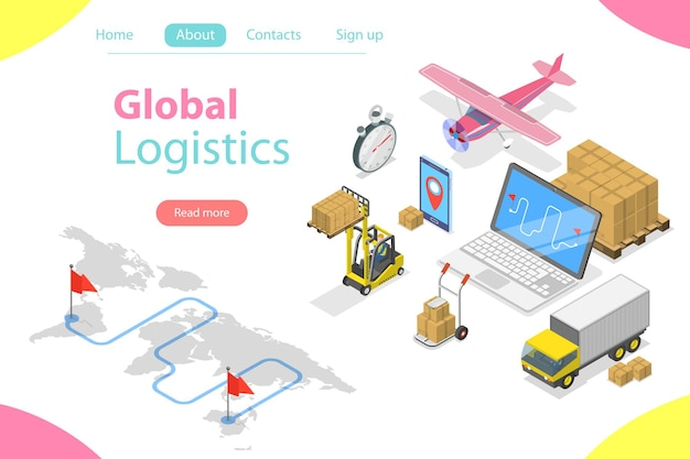 Flat isometric concept of global logistics, worldwide freight shipping, fast delivery.