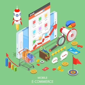 Flat isometric concept of mobile advertising, social media campaign, digital marketing.