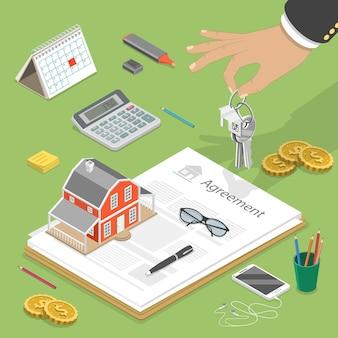 집 구입의 평면 아이소 메트릭 개념