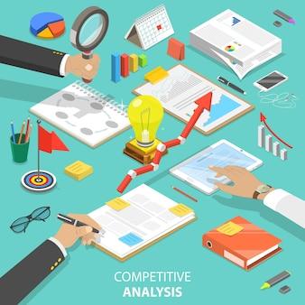 競合分析のフラットアイソメトリックコンセプト