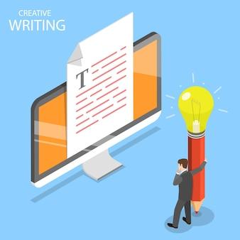 クリエイティブライティング、コピーライティング、コンテンツ作成のフラットアイソメトリックコンセプト。