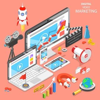 Плоская изометрическая концепция цифрового видеомаркетинга, рекламы, социальных сетей, seo.