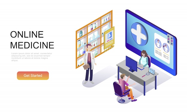 Плоская изометрическая концепция медицины и здравоохранения