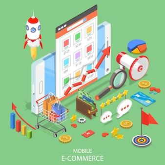 Плоская изометрическая концепция мобильной рекламы, кампании в социальных сетях, цифрового маркетинга.