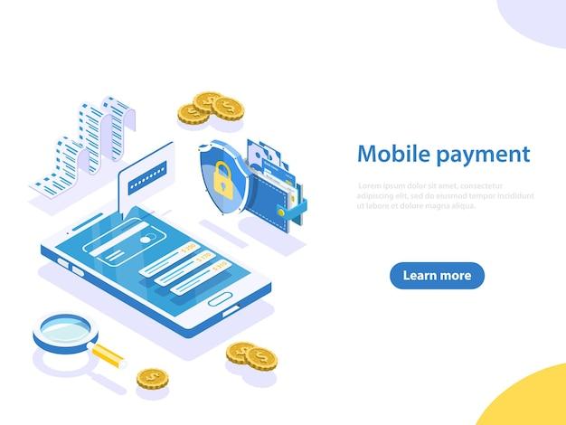 Плоская изометрическая концепция онлайн-платежей