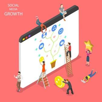 Плоская изометрическая концепция роста социальных сетей, сетей, чата.