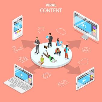 바이러스 성 콘텐츠, 디지털 마케팅 캠페인, 소셜 미디어 네트워크의 평면 아이소 메트릭 개념.