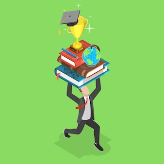 Flat isometric concept of online education, e-learning, webinar, training courses.