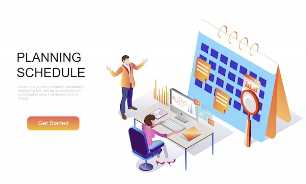 Flat isometric concept of planning schedule