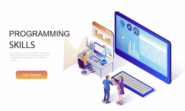 Flat isometric concept of programming skills