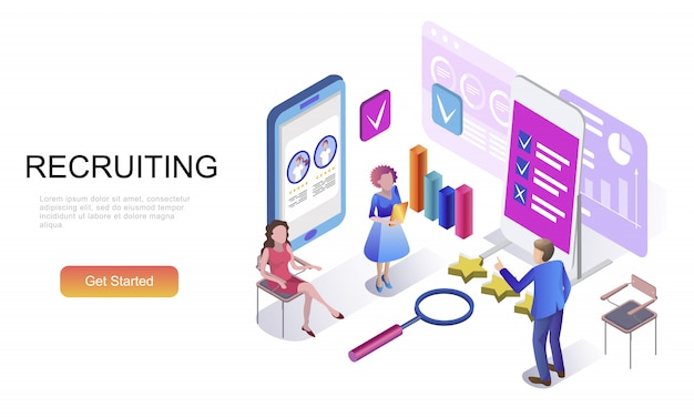 Flat isometric concept of recruiting