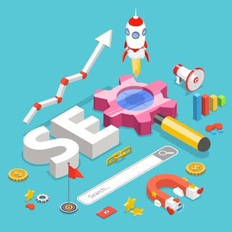 Flat isometric concept of search engine optimization.