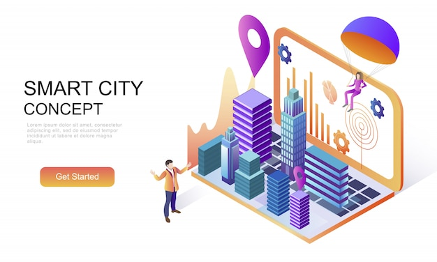 Flat isometric concept of smart city technology