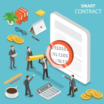 Flat isometric concept of smart contract, online business, cryptocurrency.