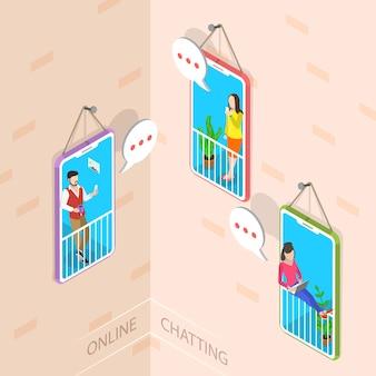 Flat isometric concept of social media network, digital communication, chatting.