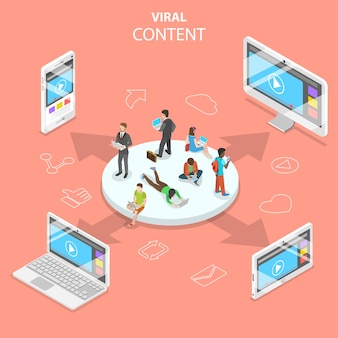Flat isometric concept of viral content, digital marketing campaign, social media network.