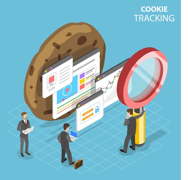 Flat isometric concept of web cookie tracking.