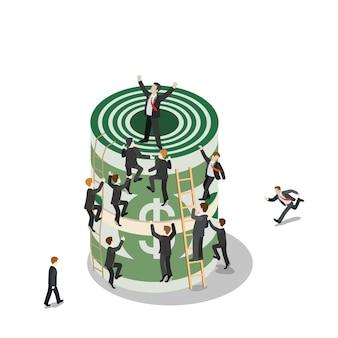 Плоская изометрическая толпа мини-бизнесмена, поднимающегося на огромный долларовый денежный пакет, векторная иллюстрация