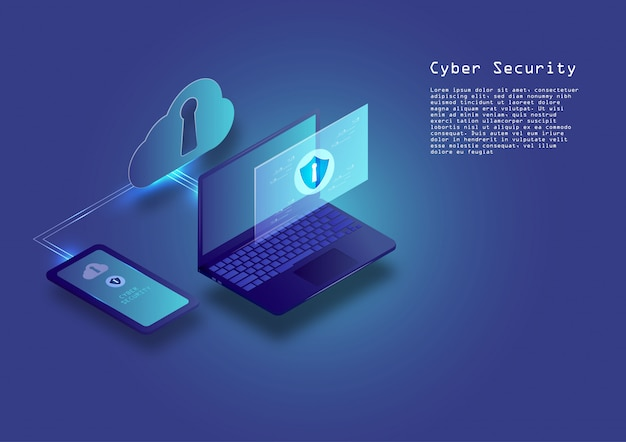 Flat isometric digital cyber security concept
