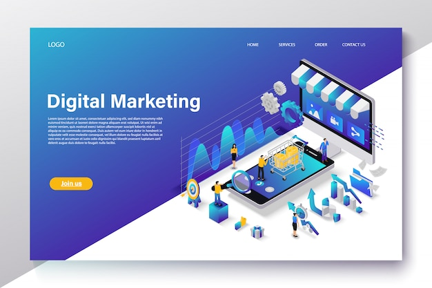 Flat isometric digital marketing concept