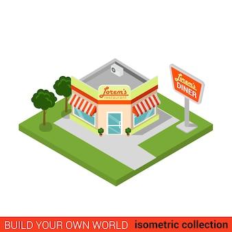 평면 아이소 메트릭 식당 레스토랑 빌딩 블록 infographic 개념 거리 모퉁이 패스트 푸드 저녁 식사 자신의 infographics 세계 컬렉션 구축