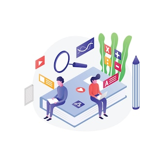 Flat isometric education illustration