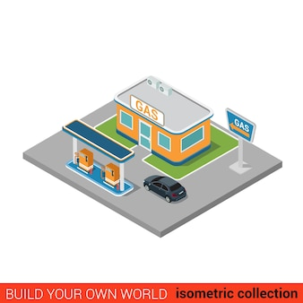 Flat isometric gas petroleum petrol refill station building block infographic concept build your own infographics world collection