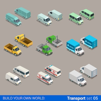Flat isometric high quality city freight cargo transport icon set car truck van construction ambulance delivery water micro bus build your own world web infographic collection