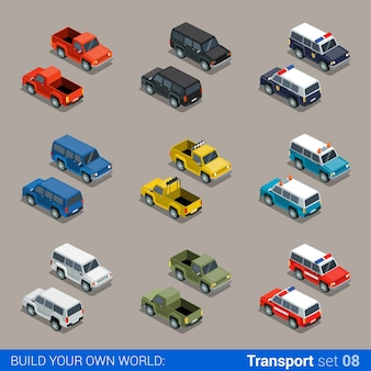 Flat isometric high quality city suv jeep offroad transport icon set car pickup fire service police military farm truck build your own world web infographic collection