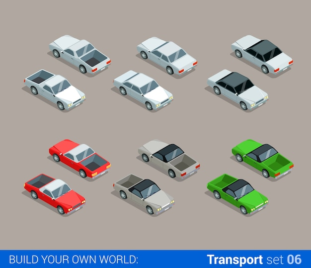 Flat isometric high quality city transport icon set car pickup convertible sedan build your own world web infographic collection