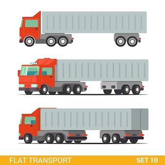 フラットアイソメトリック高品質面白い貨物配達道路輸送セット。トラックバン自動車ワゴンモーターローリー。独自のワールドコレクションを作成します。