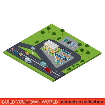 Flat isometric highway gas petroleum petrol refill station building block on heavy traffic road infographic concept build your own infographics world collection