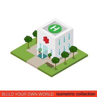 Плоский изометрический больничный строительный блок инфографическая концепция экстренная клиника на крыше вертолетной площадки зона посадки вертолета площадка платформа h знак создайте свою собственную коллекцию инфографики мира