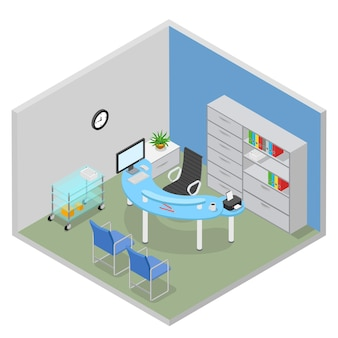 Плоская изометрическая больница, стол врача, комната, интерьер, концепция здравоохранения