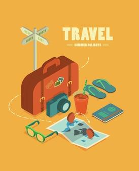 여행 필수 개념에 대 한 평면 아이소 메트릭 아이콘 설정