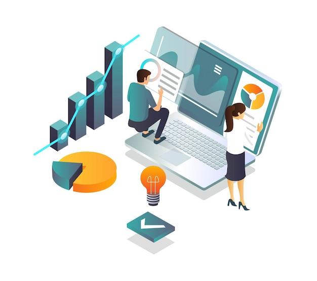 フラットアイソメトリックイラストレーションの概念、リアルタイムでのデジタルレポートの公開、データの分析